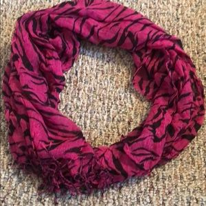 Pink and black tiger print scarf